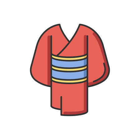 Kimono red RGB color icon. Traditional japanese dress with obi belt. Oriental yukata. Ethnic asian clothing. Maiko outfit. National chinese apparel. Clothing in Kyoto. Isolated vector illustration