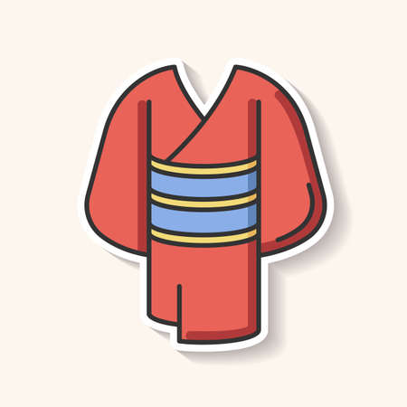 Kimono patch. Traditional japanese dress with obi belt. Oriental yukata. Ethnic asian clothing. Maiko outfit. Chinese apparel. RGB color printable sticker. Vector isolated illustration