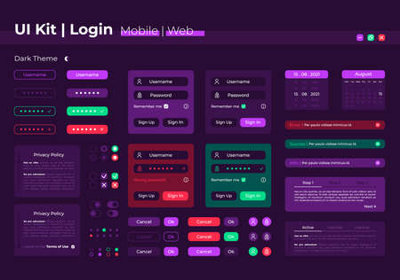 Illustration for Login UI elements kit. Registration form. System authorization isolated vector icon, bar and dashboard template. Web design widget collection for mobile application with dark theme interface - Royalty Free Image