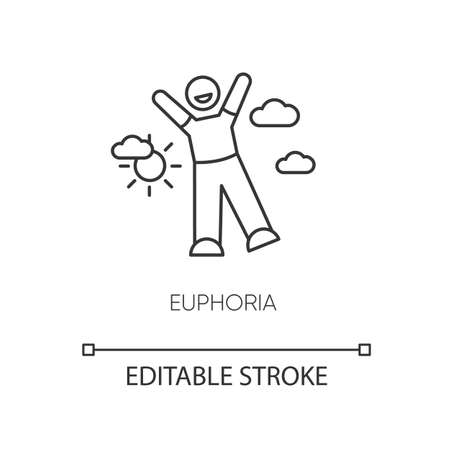 Euphoria pixel perfect linear icon. Happiness, positive emotion thin line customizable illustration. Contour symbol. Happy person in euphoric ecstasy vector isolated outline drawing. Editable stroke