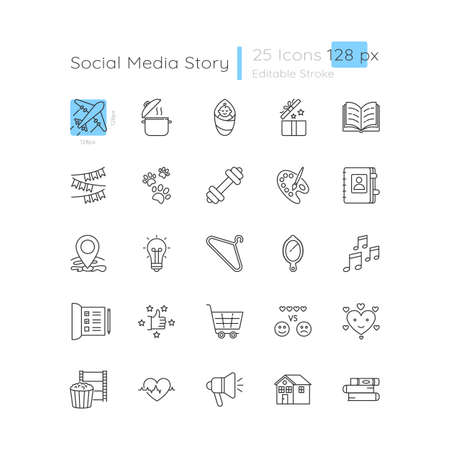 Illustration for Social media highlight linear icons set. Lifestyle recommendation for online blog. Customizable thin line contour symbols. Isolated vector outline 128 x 128 px illustrations. Editable stroke - Royalty Free Image