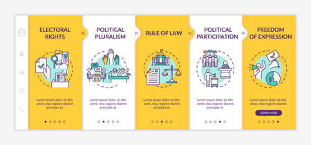 Political rights onboarding vector template. Political pluralism. Rule of law. Freedom of expression. Responsive mobile website with icons. Webpage walkthrough step screens. RGB color concept