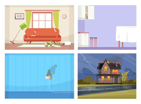 Illustration for Common house accidents semi flat vector illustration set. Faulty wiring, open kitchen wall cabinet, messy living room, house on fire 2D cartoon scenes collection for commercial use - Royalty Free Image