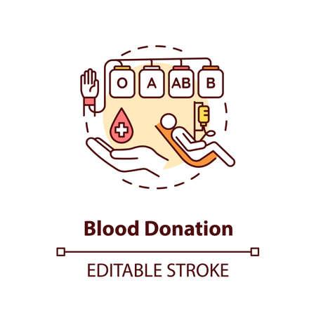 Ilustración de Blood donation concept icon. Voluntary medical procedure, transfusion. Donating blood for charity purpose idea thin line illustration. Vector isolated outline RGB color drawing. Editable stroke - Imagen libre de derechos