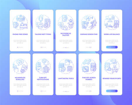 Illustration pour Screen addiction reducing onboarding mobile app page screen with concepts set. Mindless scrolling, muting walkthrough 5 steps graphic instructions. UI vector template with RGB color illustrations - image libre de droit