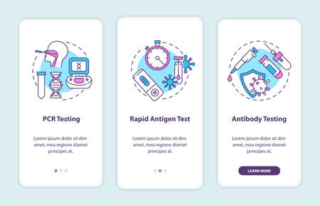 Photo pour Covid testing types onboarding mobile app page screen with concepts. PCR testing, antibody testing walkthrough 3 steps graphic instructions. UI vector template with RGB color illustrations - image libre de droit