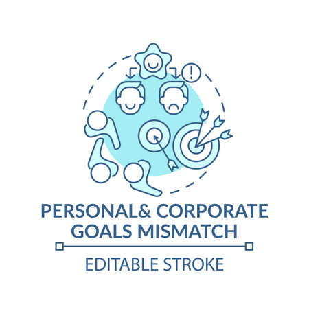 Mismatch of goals concept icon. Dissatisfaction of new worker idea thin line illustration. Personal and corporate conditions. Vector isolated outline RGB color drawing. Editable stroke