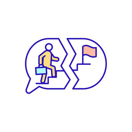 Climbing career ladder RGB color icon. Thoughts of work failure. Promotion to managerial ranks. Personal and corporate goals mismatch. Unsuccessful attempt to achieve aim. Isolated vector illustration