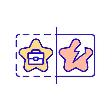 Unjustified work hopes RGB color icon. Adaptation of employee in company. Intial training, trial period and mentorship. Emotional distress. Work and personal dreams. Isolated vector illustration