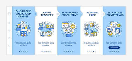 Illustration pour Online foreign language courses onboarding vector template. One-to-one classes. Year-round enrollment. Responsive mobile website with icons. Webpage walkthrough step screens. RGB color concept - image libre de droit