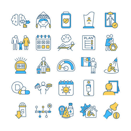 Illustration for SAD treatment RGB color icons set. Attention deficit disorder. Body screening. Schedule creation. Winter, summer depression. Self-help. Osteoporosis. Low-sodium diet. Isolated vector illustrations - Royalty Free Image