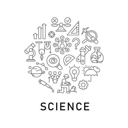 Illustration for Science abstract linear concept layout with headline. Lab testing. Laboratory research minimalistic idea. Scientific analysis thin line graphic drawings. Isolated vector contour icons for background - Royalty Free Image