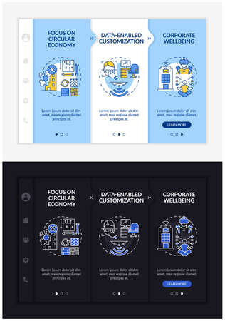 Illustration for Future worksite design onboarding vector template. Responsive mobile website with icons. Web page walkthrough 3 step screens. Corporate wellness night and day mode concept with linear illustrations - Royalty Free Image