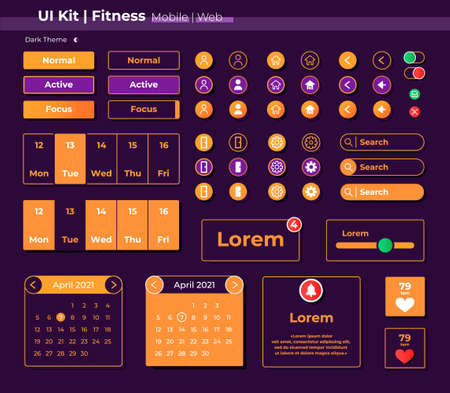 Illustration pour Fitness UI elements kit. Running app settings and options isolated vector icon, bar and dashboard template. Web design widget collection for mobile application with dark theme interface - image libre de droit