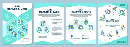 Illustration pour Ear health and care brochure template. Gently cleaning ears. Flyer, booklet, leaflet print, cover design with linear icons. Vector layouts for presentation, annual reports, advertisement pages - image libre de droit
