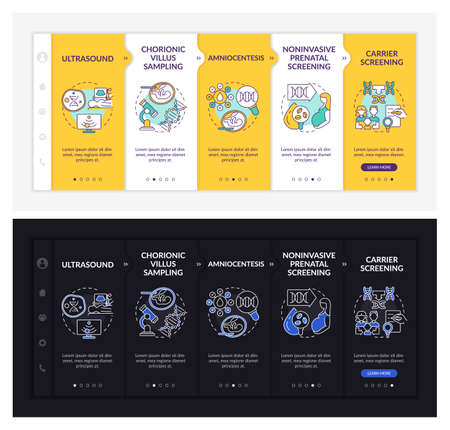 Illustration for Genetic diseases diagnostics onboarding vector template. Responsive mobile website with icons. Web page walkthrough 5 step screens. Illness dark, light mode concept with linear illustrations - Royalty Free Image