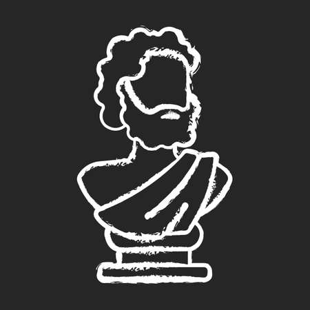 Illustration for Ancient statue chalk white icon on black background. Art history. Ancient greek sculpture. Depicting realistic human form. Sculpted philosopher bust. Isolated vector chalkboard illustration - Royalty Free Image