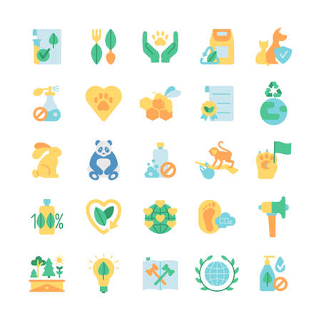 Photo for Ecology and wildlife protection vector flat color icon set. Zero waste. Green activism. Bio product, natural and organic. Cartoon style clip art for mobile app pack. Isolated RGB illustration bundle - Royalty Free Image