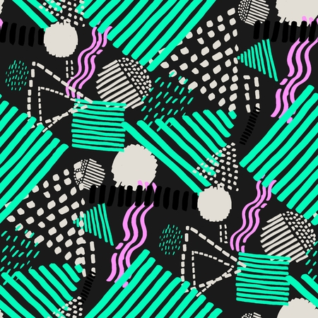 Illustration for Memphis seamless  pattern in retro style. Doodle pattern hand-drawn pen, ink, chalk. - Royalty Free Image