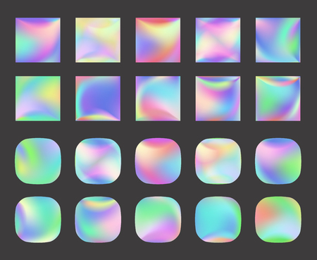Illustration pour Set of Holographic Vector Background. Iridescent Foil. Glitch Hologram. Pastel neon rainbow. Metallic paper. Template for presentation. Cover to web design.  Abstract colorful  pearl gradient. - image libre de droit