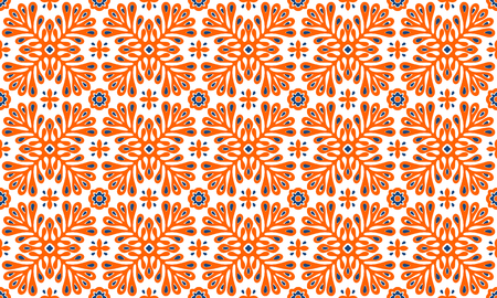 Illustration pour Traditional vector ornament in Scandinavian style. Stylized flowers and plants.  Moroccan tile mosaic. Turkish folk print. Spanish pottery. Ethnic background. Mediterranean seamless  wallpaper. - image libre de droit