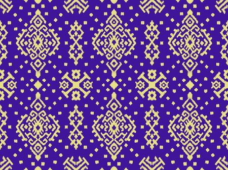 Illustration for Ikat geometric folklore ornament. Oriental vector damask pattern. Ancient art of Arabesque. Tribal ethnic texture. Spanish motif on the carpet. Aztec style. Indian rug. Gypsy, Mexican embroidery.O - Royalty Free Image