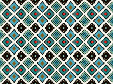 Illustration pour Ikat geometric folklore ornament with diamonds. Tribal ethnic vector texture. Seamless striped pattern in Aztec style. Folk embroidery. Indian, Scandinavian, Gypsy, Mexican, African rug. - image libre de droit