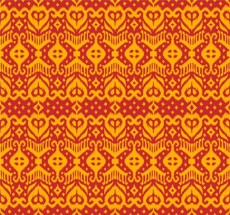 Illustration pour Lace border. Ikat seamless pattern. Vector tie dye shibori print with stripes and chevron. Ink textured japanese background. Ethnic fabric. Bohemian fashion. African creative. Damask rug. - image libre de droit