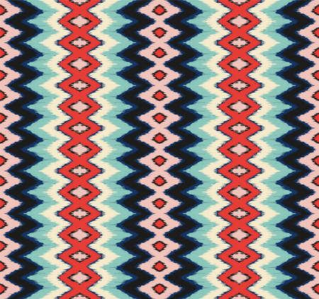 Illustration pour Ikat border. Geometric folk ornament. Ink on clothes. Tribal vector texture. Seamless striped pattern in Aztec style. - image libre de droit