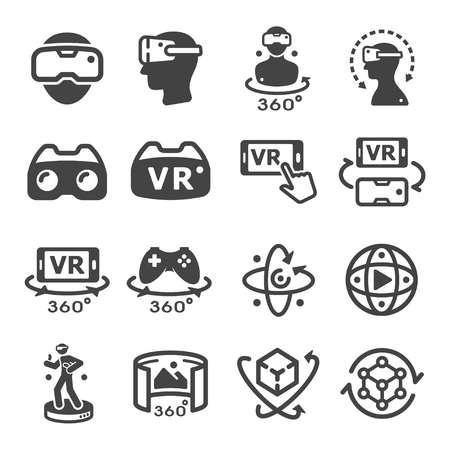 Illustration pour virtual reality technology icon set - image libre de droit