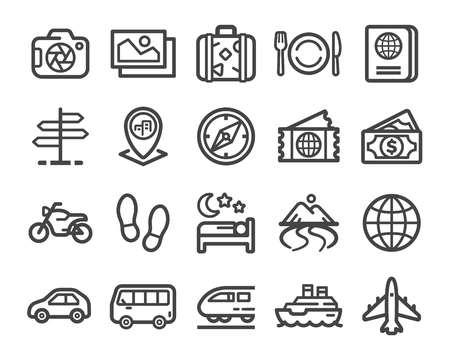 Illustration for travel thin line icon set - Royalty Free Image