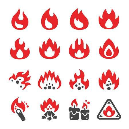 fire and flame icon set,vector and illustration
