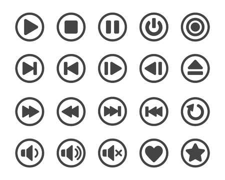 Illustration pour media player button icon set,vector and illustration - image libre de droit