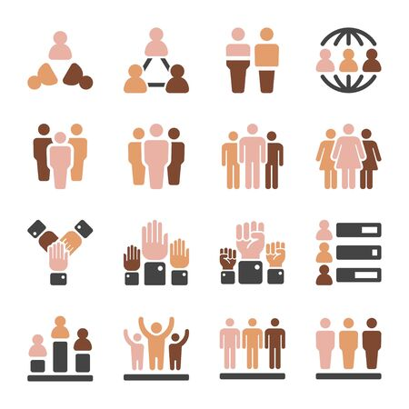 world population in diferent skin tone icon set,vector and illustration