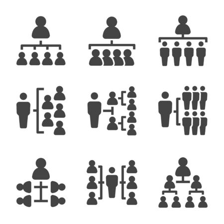 Illustration for organization chart with people icon set,vector and illustration - Royalty Free Image