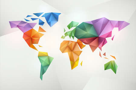 World map background in origami style  Vector background  Eps 10