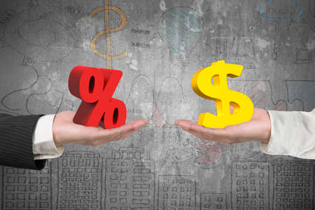 Dollar symbol on one hand and percentage sign on another hand, with business concepts doodles background, concept of deal and profit.
