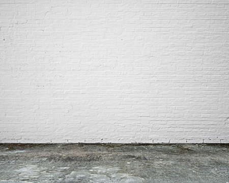 Photo for white brick wall with moosy floor indoor empty nobody - Royalty Free Image
