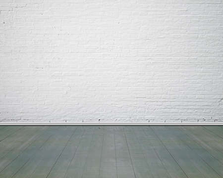 Foto de White brick wall with vintage wooden floor indoor, nobody, empty - Imagen libre de derechos
