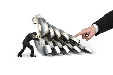 Businessman stopping the falling of dollar currency symbols with big hand pushing, isolated on white background. Domino effect and problem solving of concepts