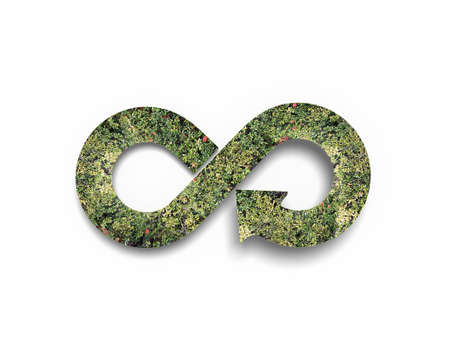 Photo pour Green circular economy concept. Arrow infinity symbol with grass, isolated on white background. - image libre de droit