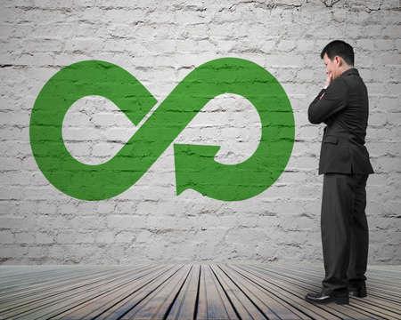 Green circular economy concept. Arrow infinity symbol on brick wall with man thinking.
