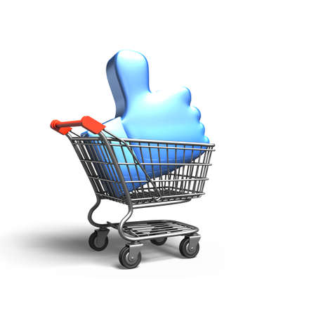 Thumb up in shopping cart, isolated on white background, 3D rendering.