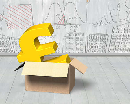 Golden pound sterling in opened cardboard box, on doodles wall and wooden floor indoors background.