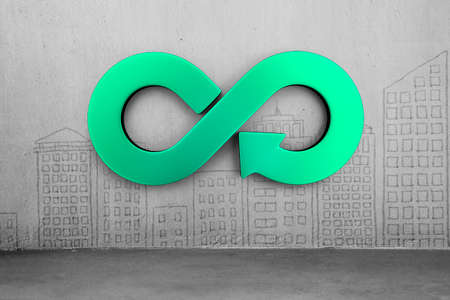 Photo pour Circular economy concept. Green arrow infinity symbol on city buildings doodles concrete wall background. - image libre de droit