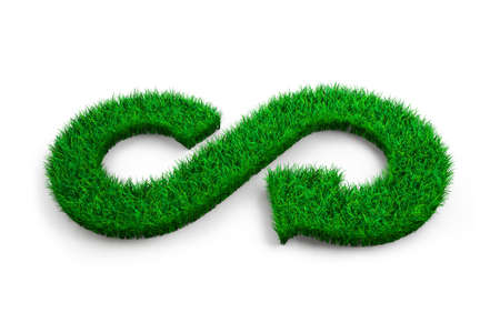 Photo pour ECO and circular economy concept. The green grass in form of arrow infinity recycling symbol on white background, 3D illustration. - image libre de droit
