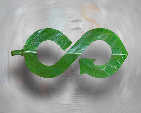 Photo pour Transforming industry into green Eco-friendly and circular economy concept, leaf in form of arrow infinity recycling shape, on abstract vortex doodles background. - image libre de droit