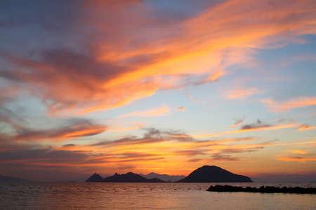 Foto de Seaside town of Bodrum and spectacular sunsets. Mugla, Turkey Hotels - Imagen libre de derechos