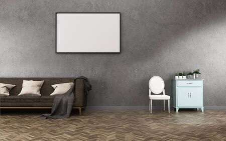 Photo pour Relax space with background.concrete wall and wood floor in living room. -3d rendering - image libre de droit