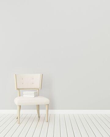 Foto de Comfort space in house. White room with armchair. modern interior design. -3d rendering - Imagen libre de derechos